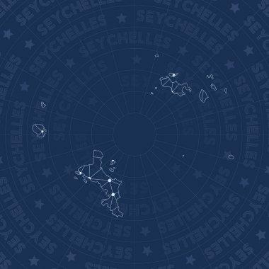 Seychelles network constellation style island map Memorable space style modern design Seychelles