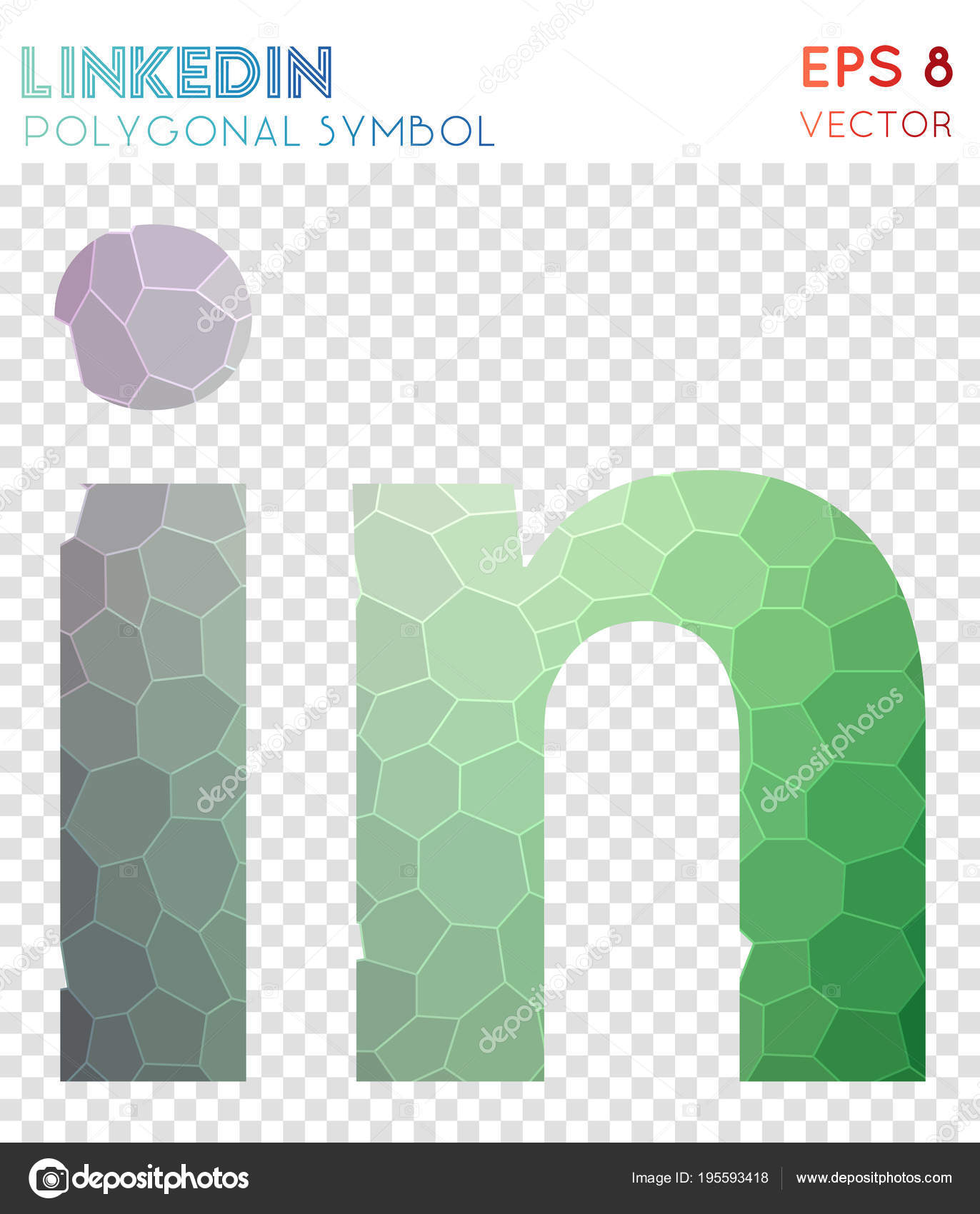 Linkedin Polygonal Symbol Artistic Mosaic Style Symbol Ravishing Low