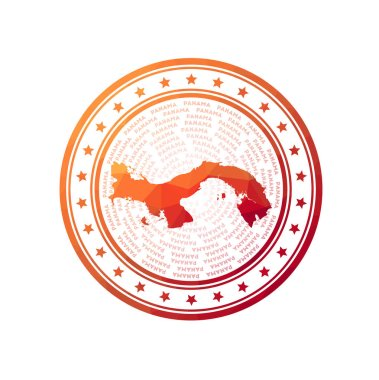 Flat low poly stamp of Panama. Polygonal Panama badge. Trendy vector logo of the country. icon