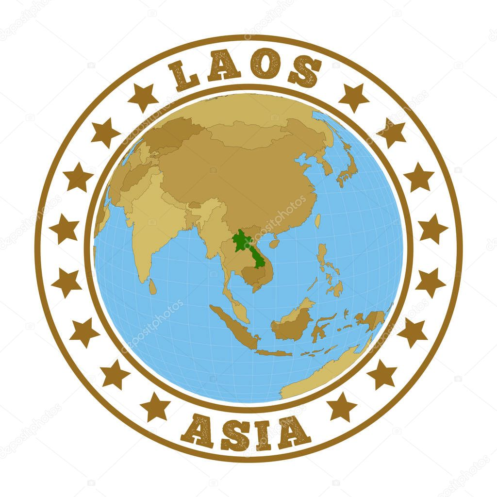 Picture of: Laos Logo Round Badge Of Country With Map Of Laos In World Context Country Sticker Stamp With Globe Map And Round Text Vector Illustration Premium Vector In Adobe Illustrator Ai