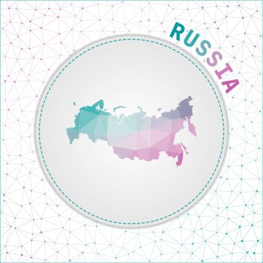 Vector polygonal Russia map Map of the country with network mesh background Russia illustration in