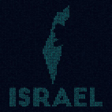 Israel tech map Country symbol in digital style Cyber map of Israel with country name Radiant