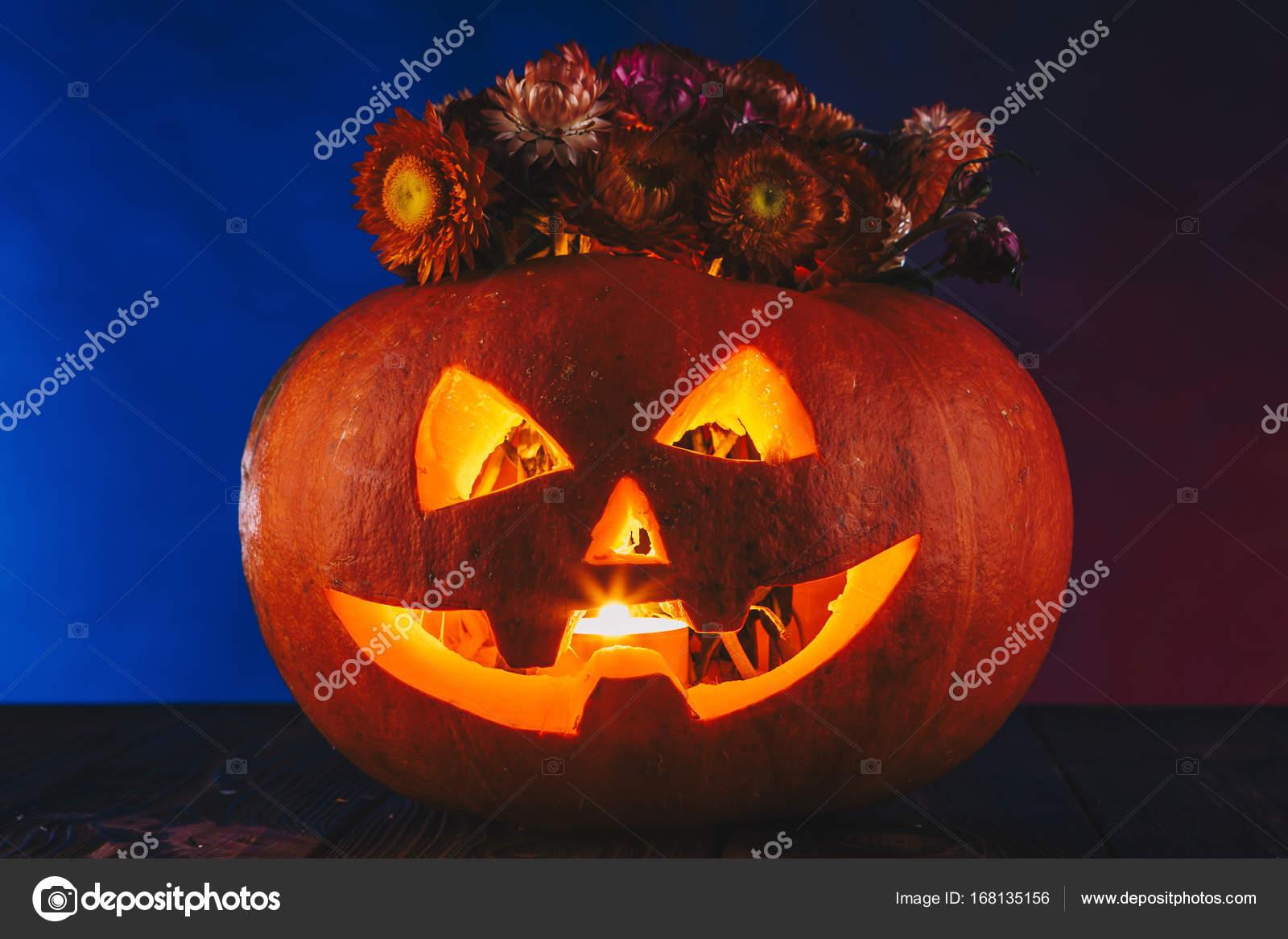 Zucca di halloween con i fiori in illuminazione scura concetto di