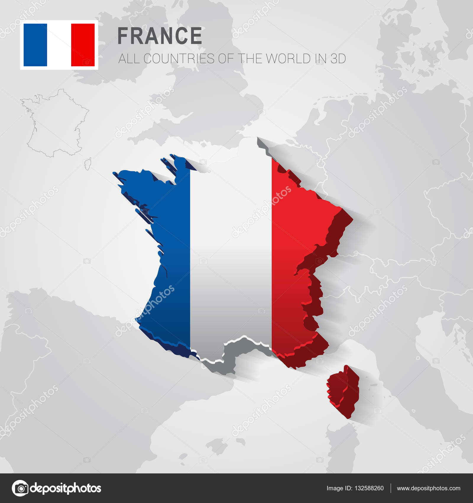 Map Of France With Neighbouring Countries.France And Neighboring Countries Europe Administrative Map Stock