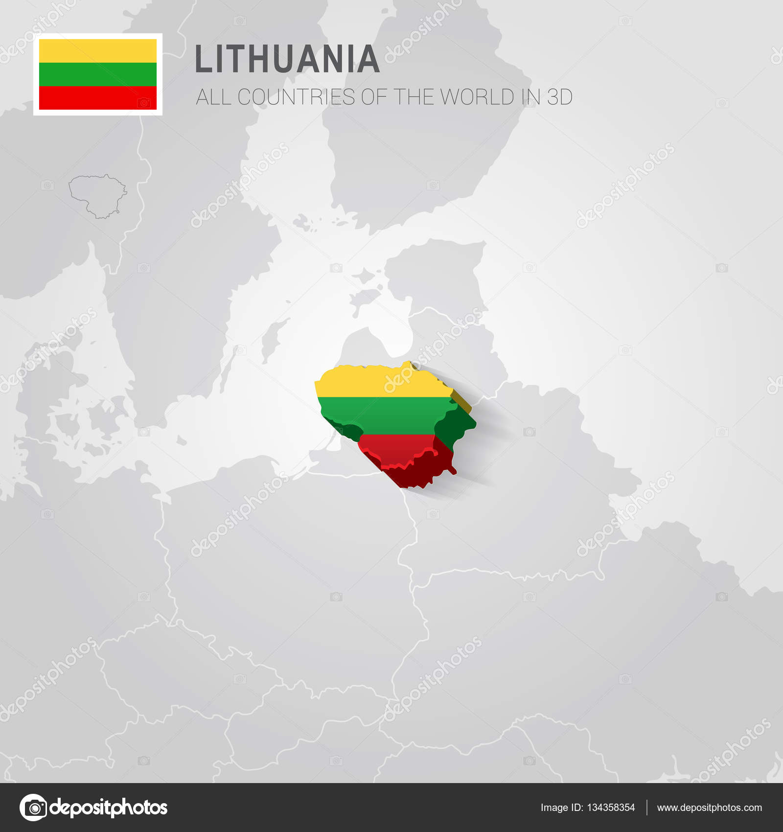 Lithuania and neighboring countries Europe administrative map