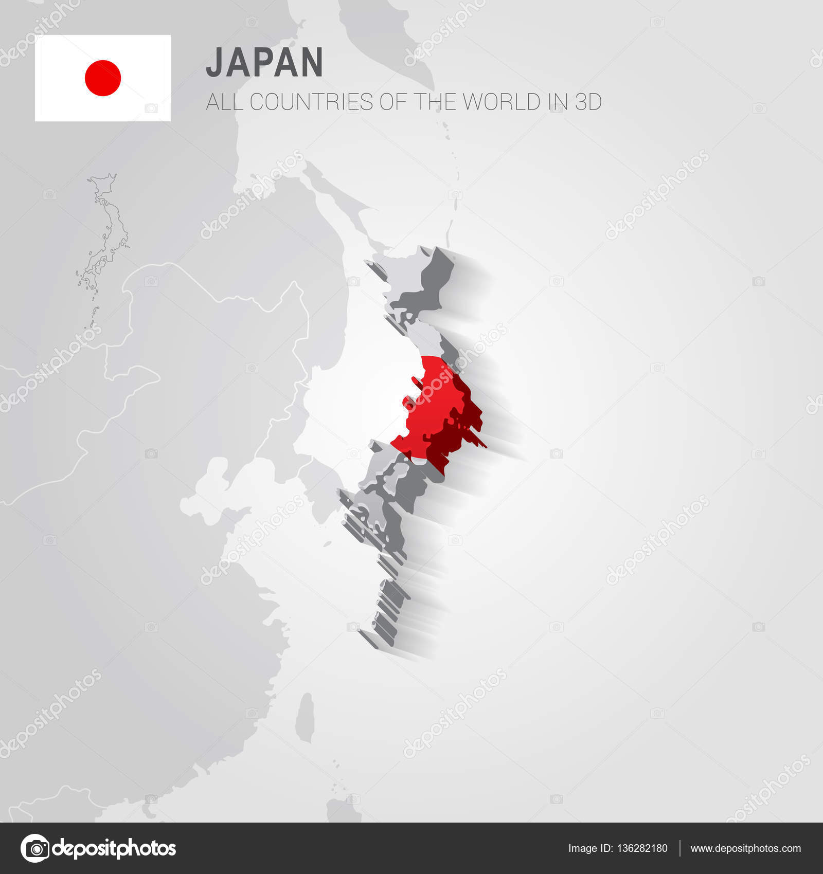 Japan and neighboring countries Asia administrative map Stock