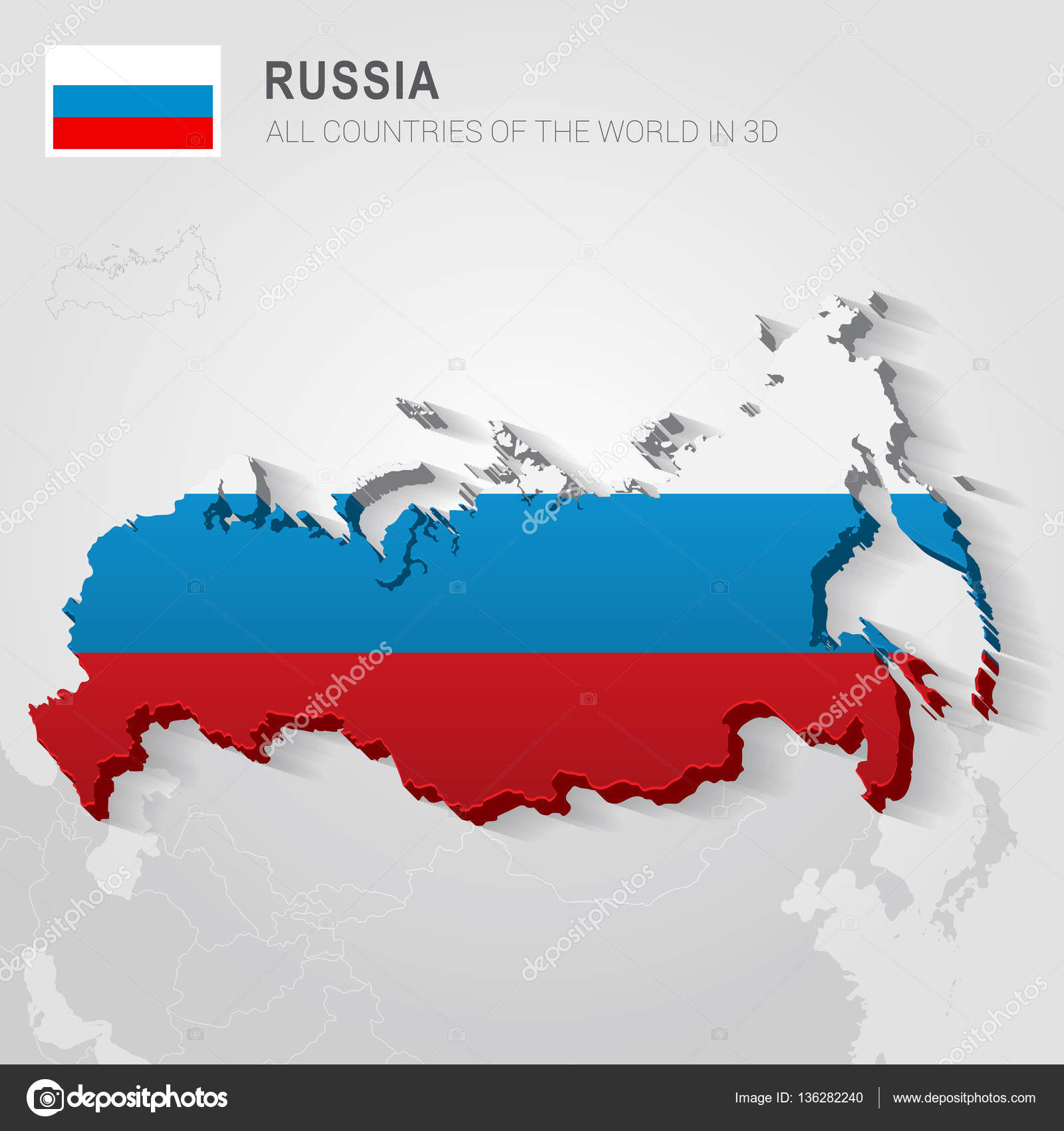 Russia And Neighboring Countries Asia Administrative Map Stock