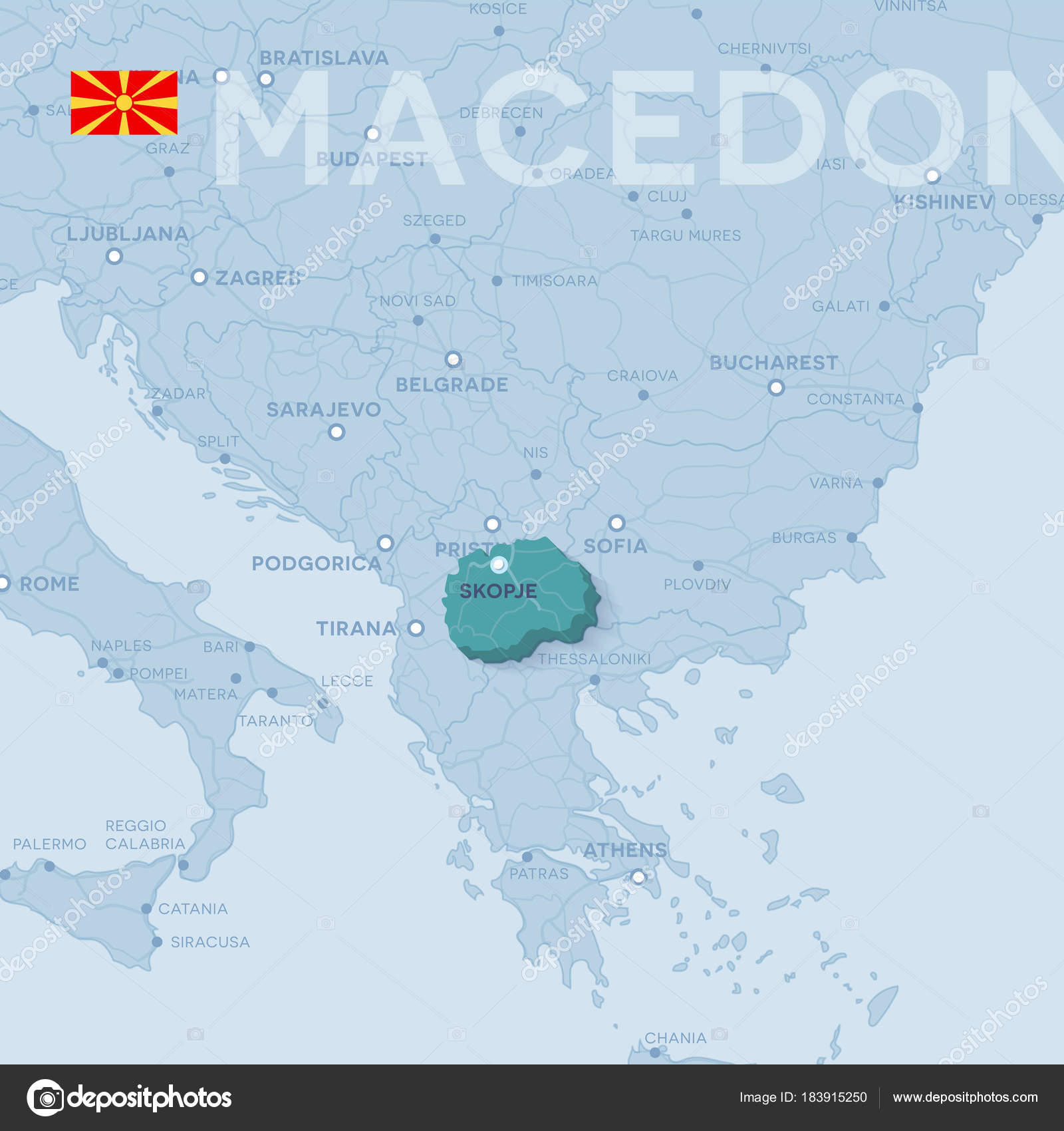 Map of cities and roads in macedonia stock vector snyde 183915250 3d map of cities and roads in europe countries and their neighbors vector by snyde publicscrutiny Choice Image