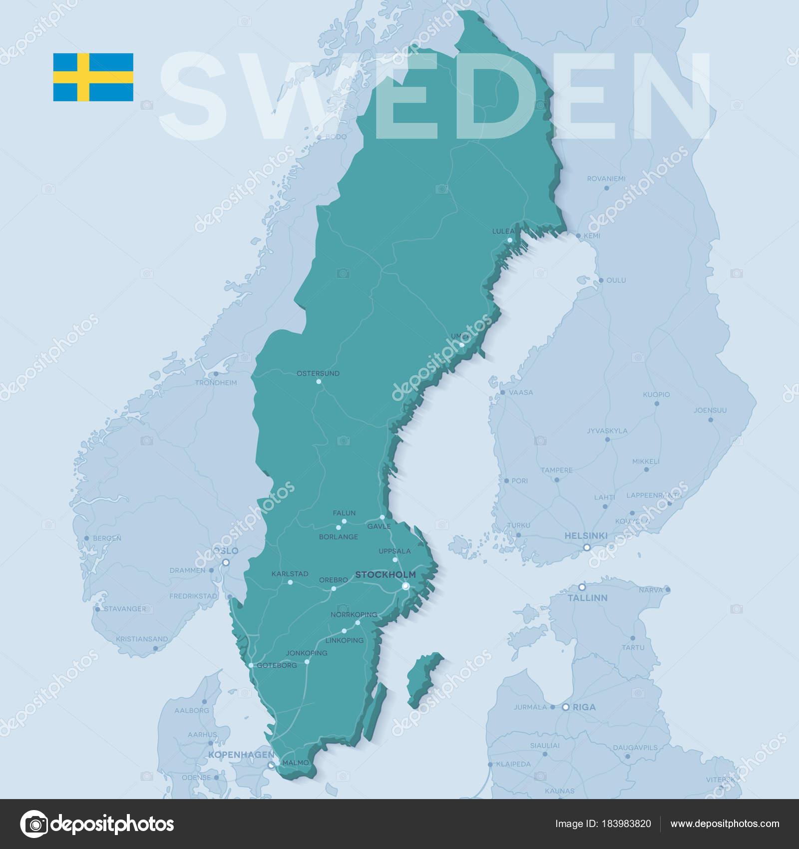 Karta Sverige Borlange.Karta Over Stader Och Vagar I Sverige Stock Vektor C Snyde 183983820