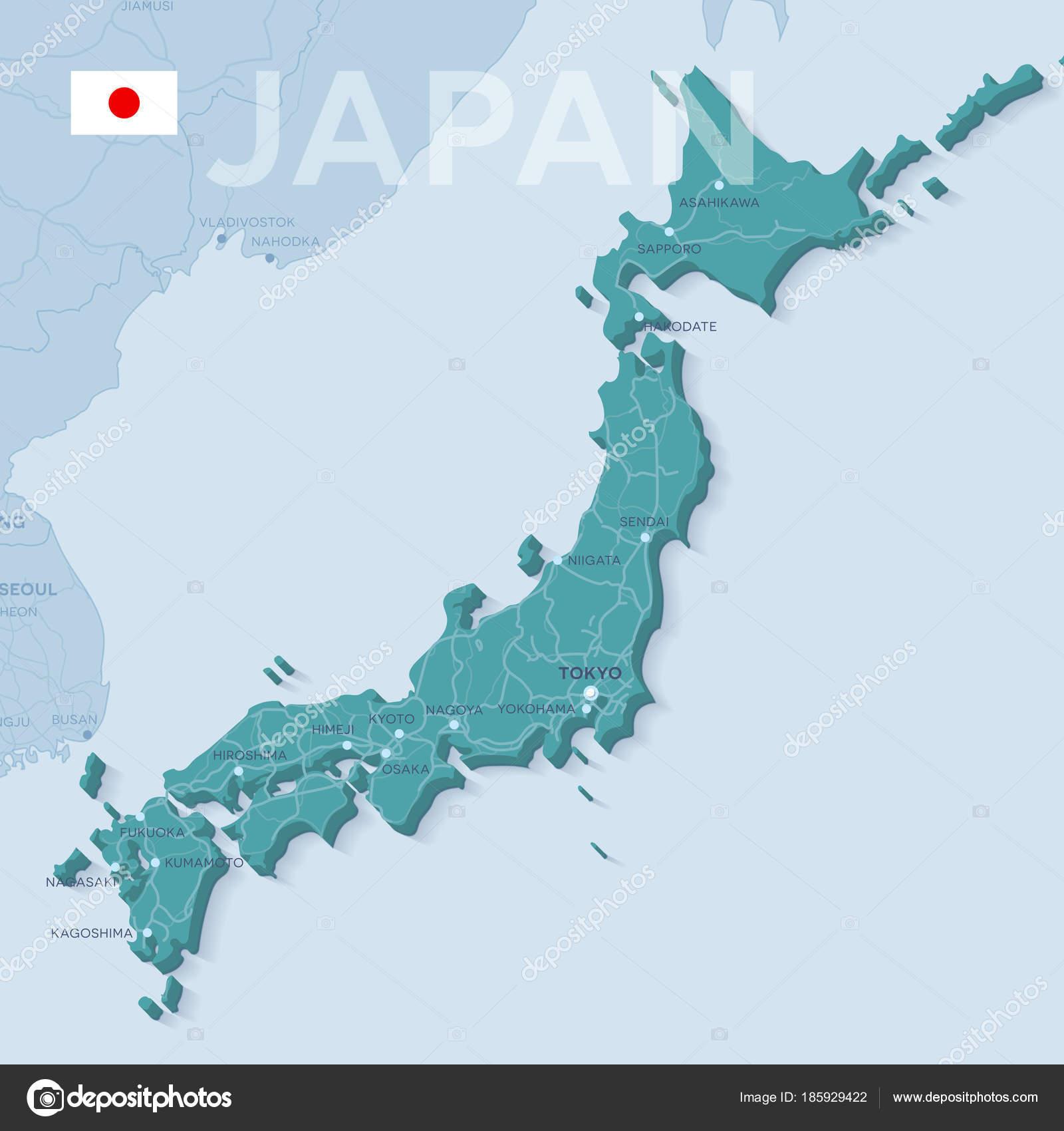 Verctor Map Of Cities And Roads In Japan Stock Vector C Snyde