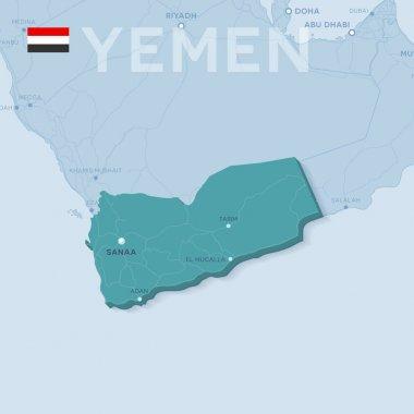 Verctor Map of cities and roads in Yemen.