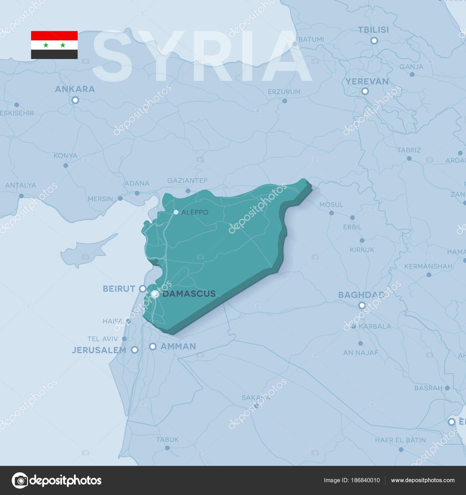 Syrien Karte Mit Städten.Verctor Karte Von Städten Und Straßen In Syrien Stockvektor