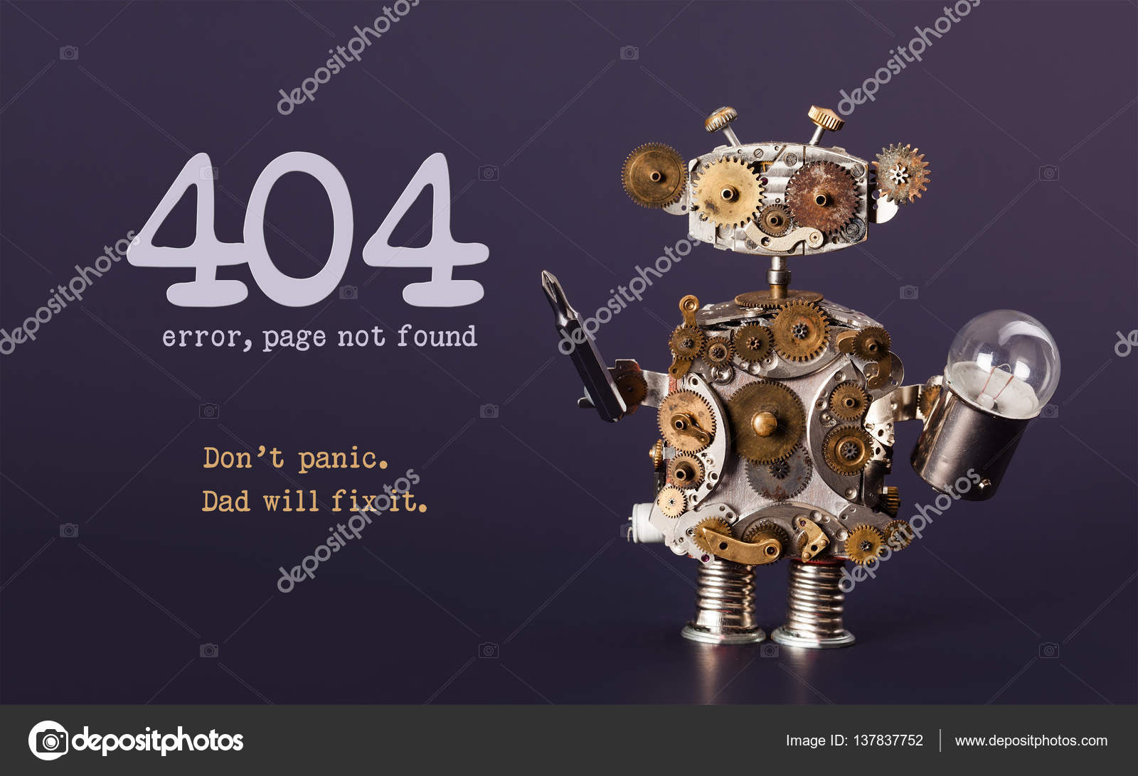Background image 404 not found - Error 404 Page Not Found Template For Website Steam Punk Style Toy Robot With Screaw