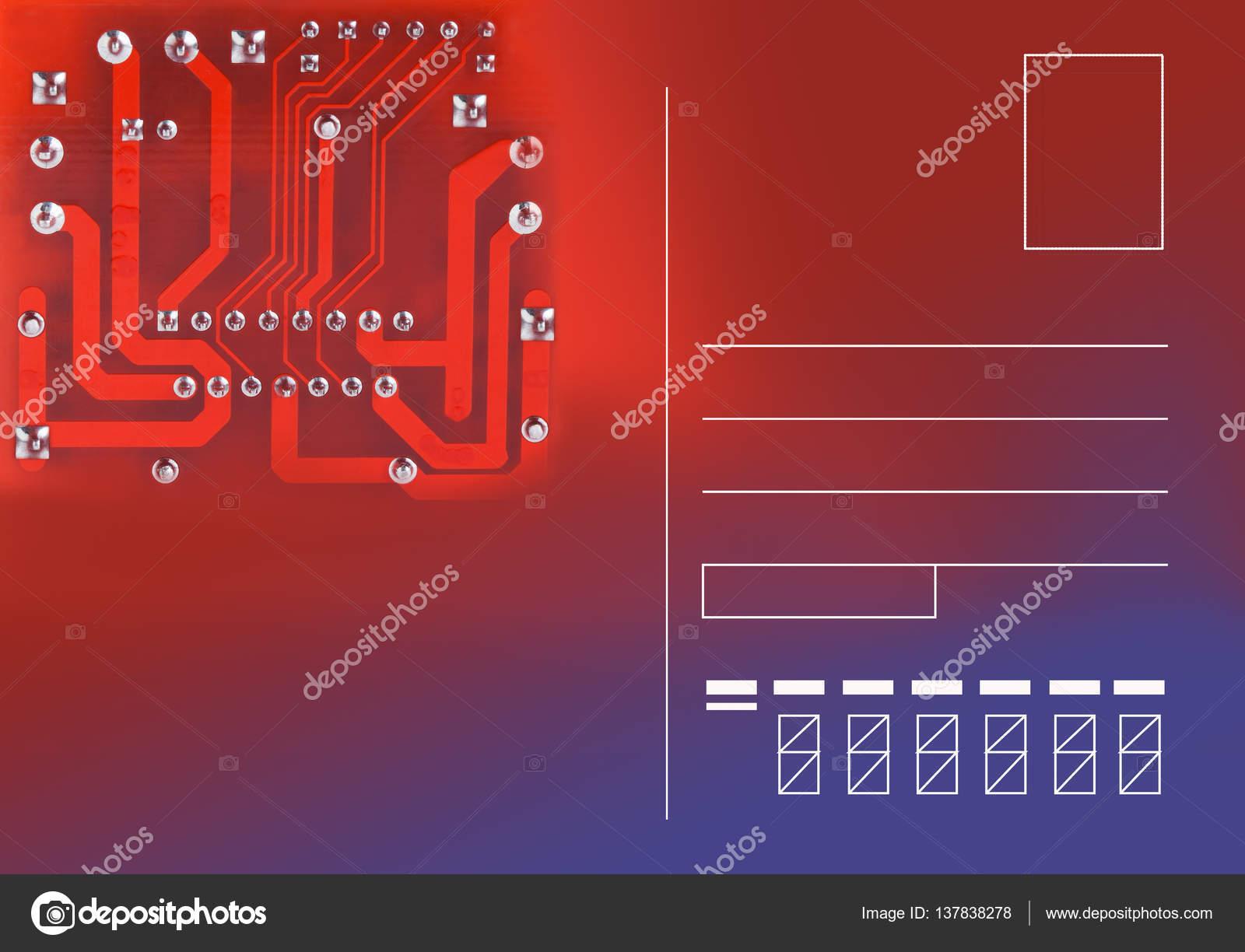Plantilla tarjeta postal moderno con chip de circuitos electrónicos ...