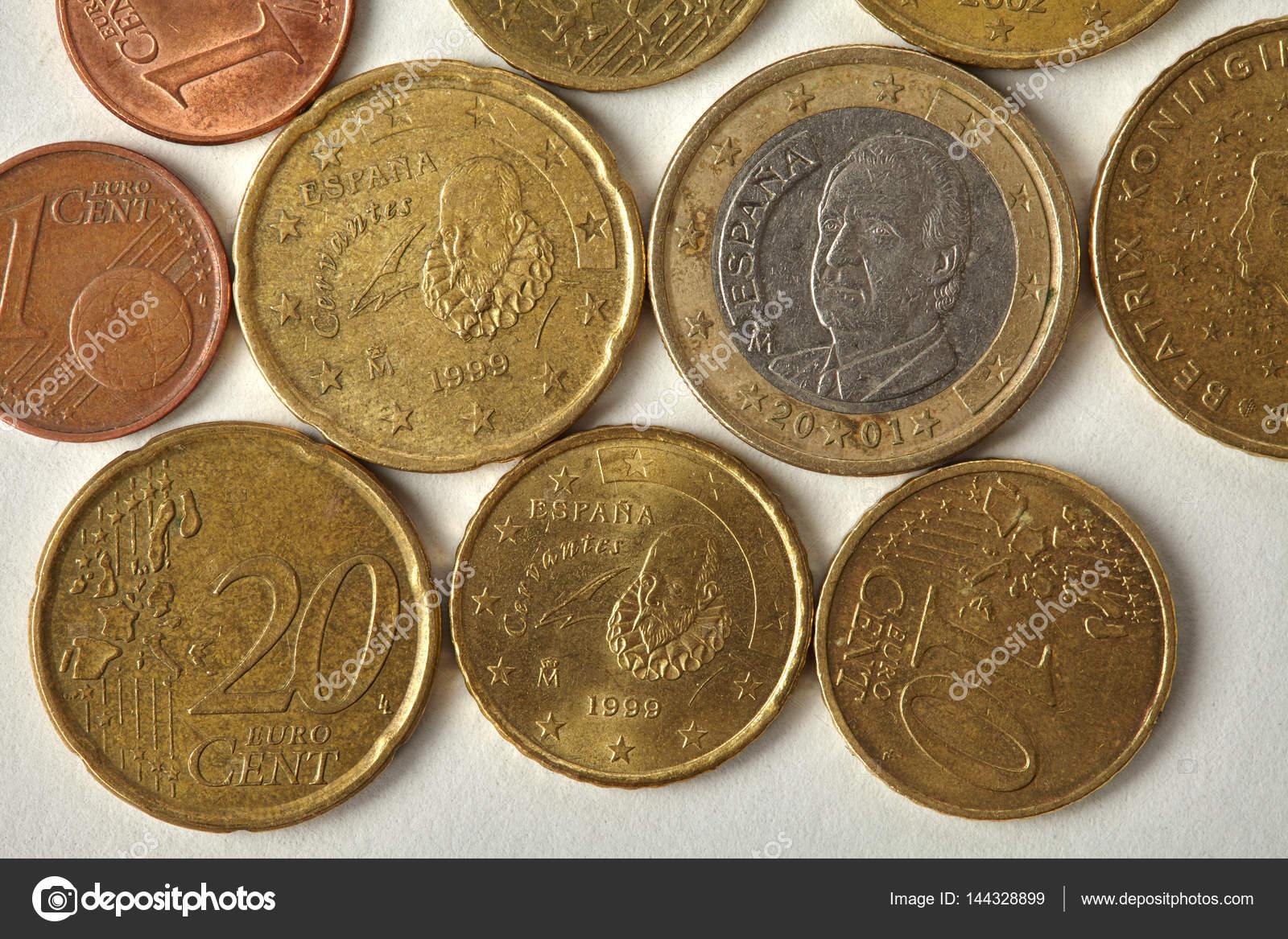 Espana Spanien Euro Cent Münzen Makro Ansicht Im Alter Von Geld
