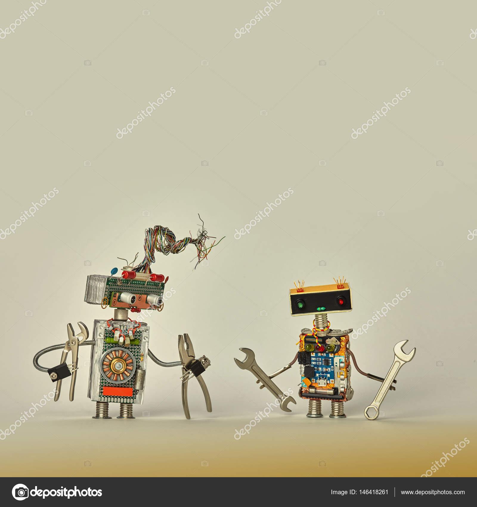 Servizio di lavoratori di costruzione. robot giocattolo creativo con