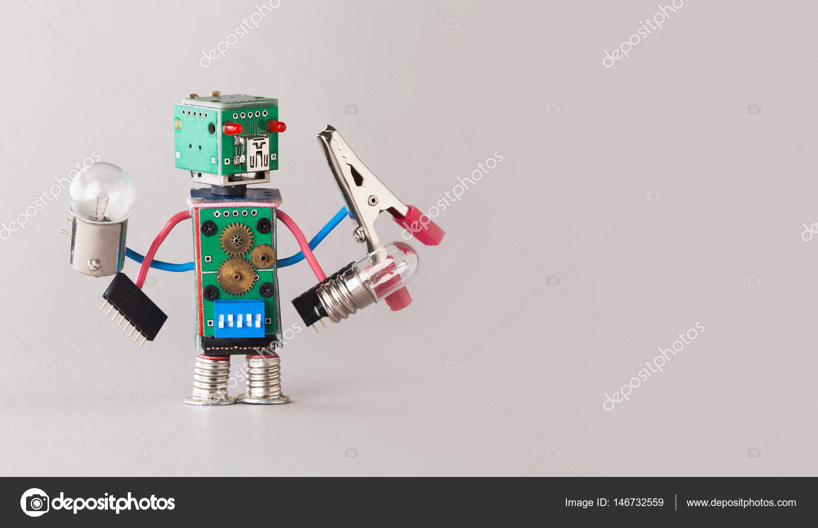 Multifunctional Electrician Robot With Light Bulbs And Pliers In Circuit Board Four Hands Colorful Toy