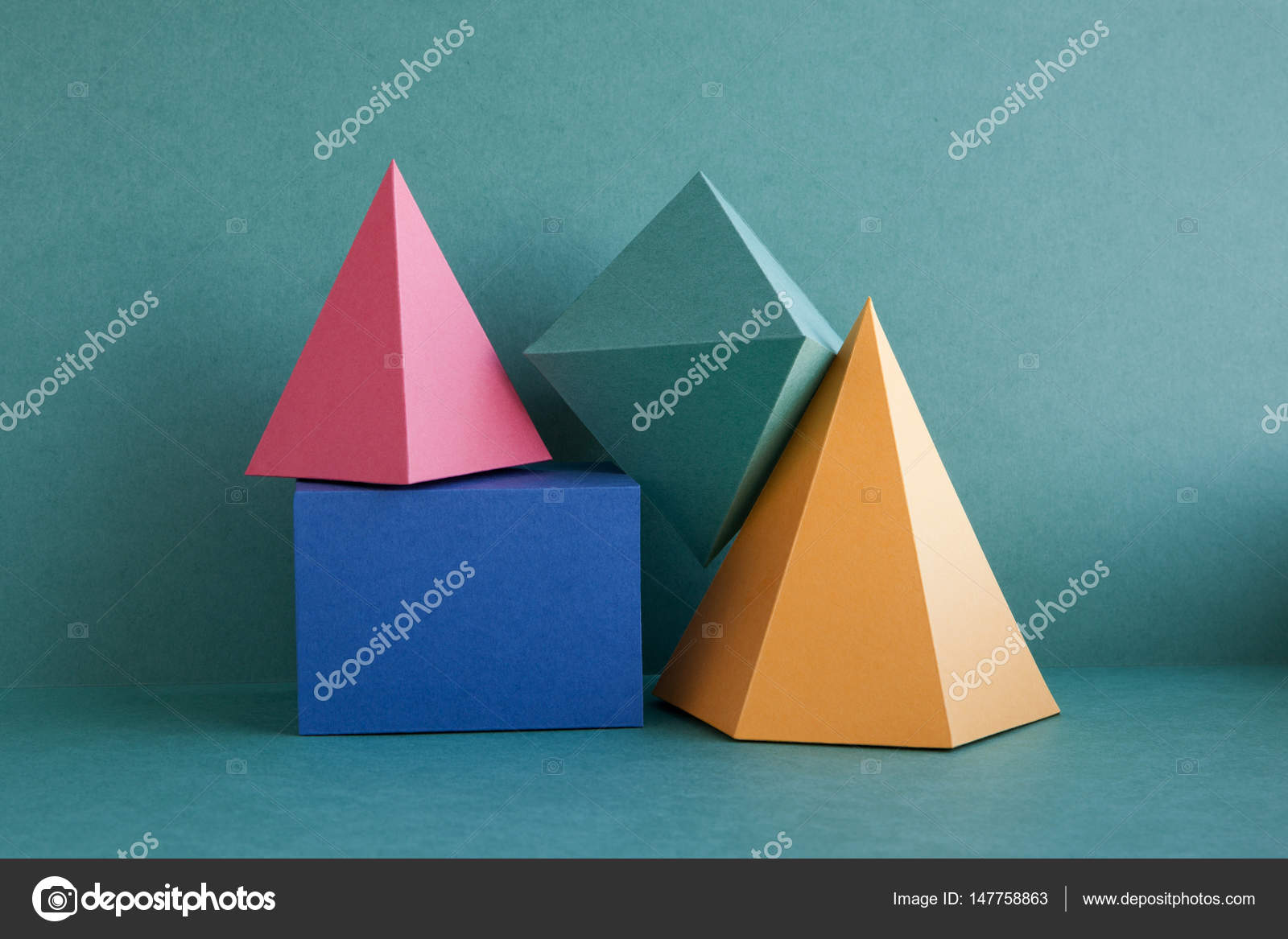 Colorful Abstract Geometric Background With Three Dimensional Solid
