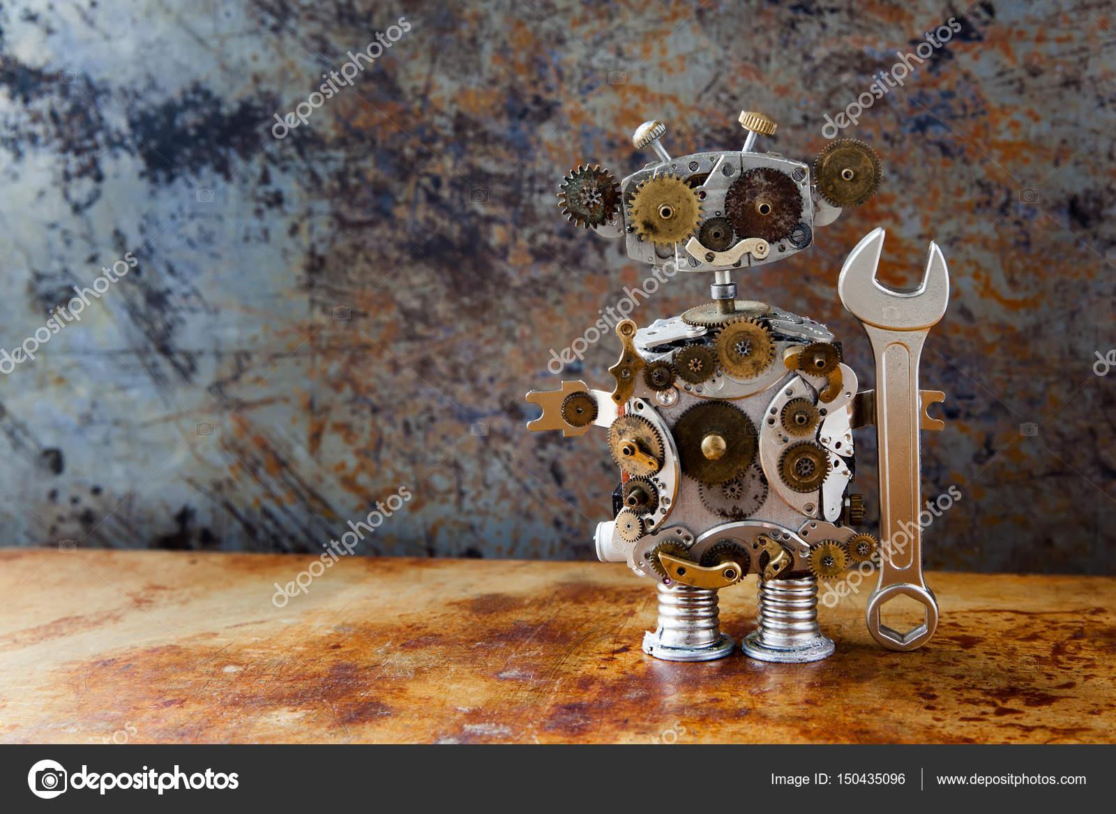 Retro-Stil Steampunk-Roboter, Zahnräder Zahnräder Uhr Teile ...