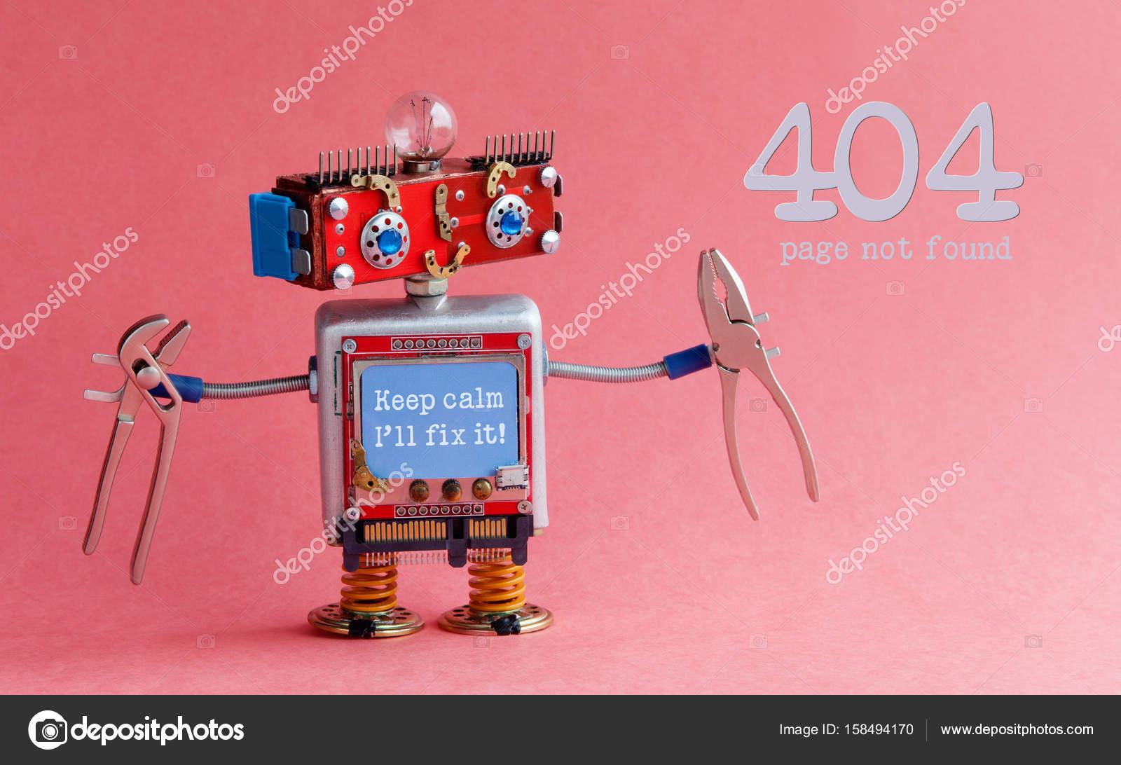 Errore 404 pagina non trovata concetto. robot tuttofare amichevole