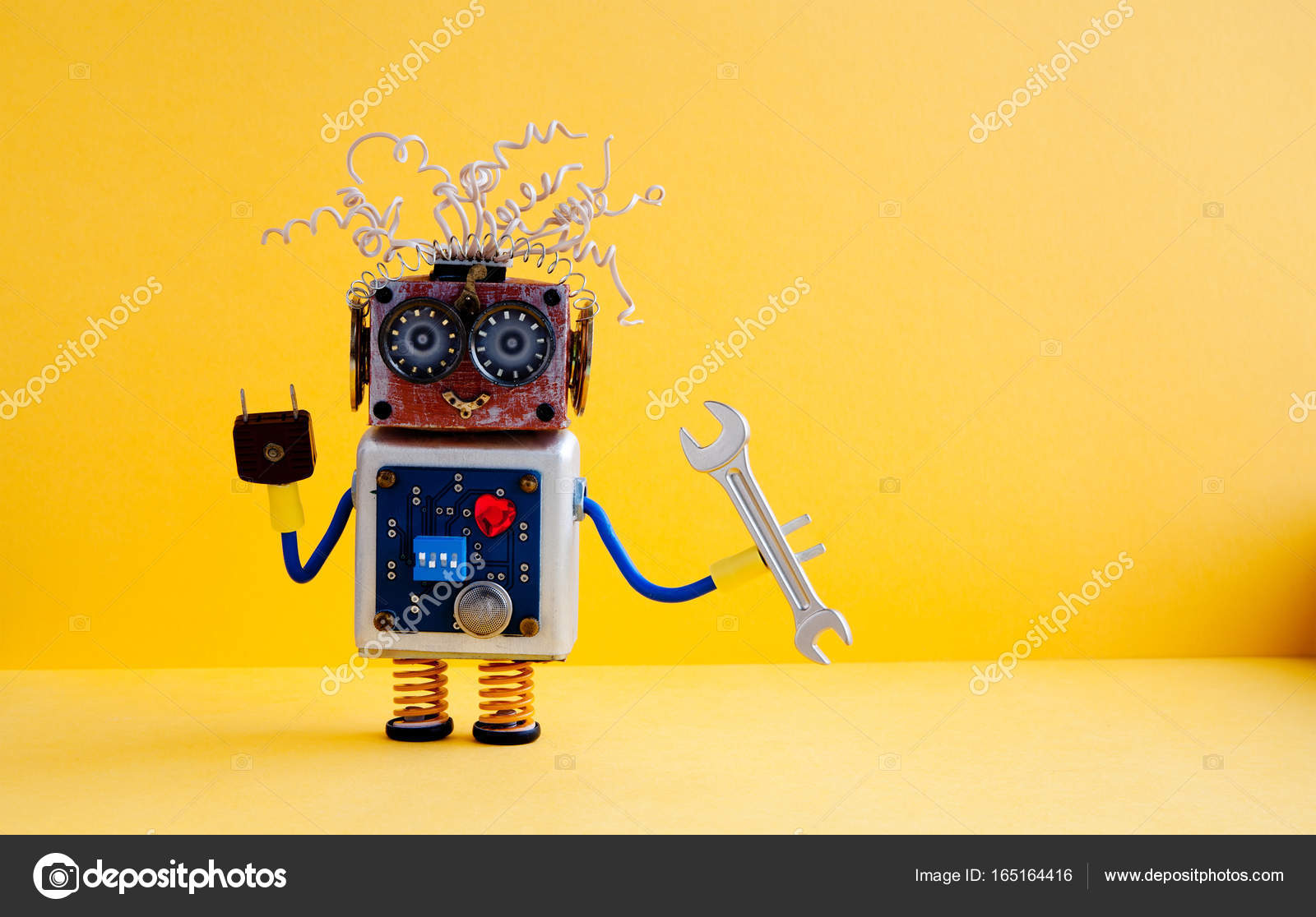 Repair Service Robot Handyman Hand Wrench Creative Design Cyborg Wiring Circuits For Robotics Toy Electric Wires Hairstyle