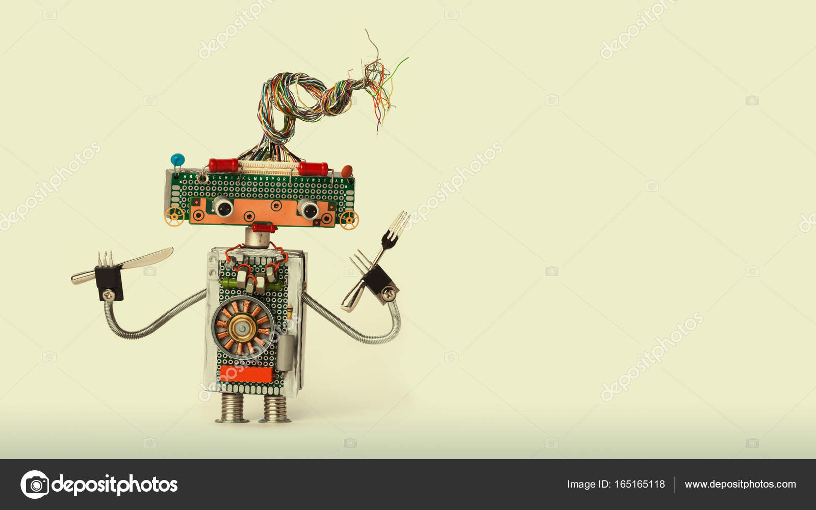 Culinary Conceptual Robotic Toy Fork Spoon Funny Chef Robot Restaurant Electrical Wiring Diagrams Character For Food Menu Advertising Poster Cyborg Electric Wires Transistors Body On Beige Gray Background Copy Space Photo