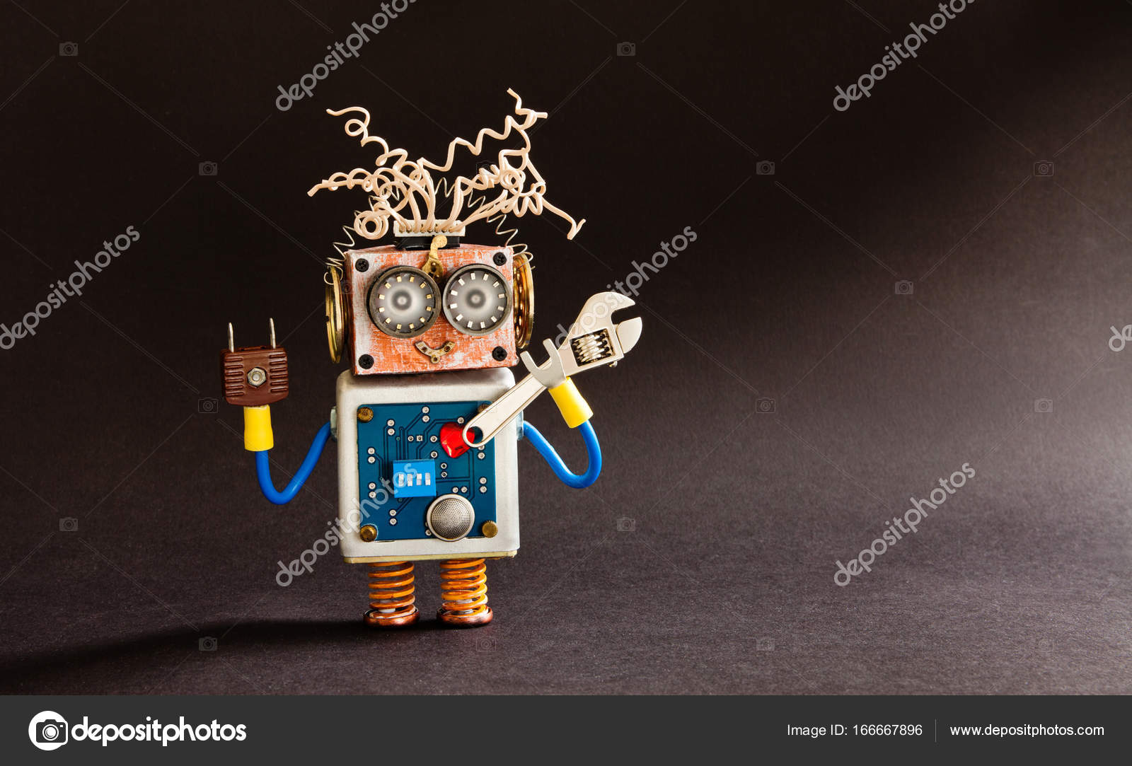 Crazy Serviceman Robot Ready With Adjustable Spanner Creative Electronic Circuit Design Notes Cyborg Toy Electric Wires Hairstyle Big Eyeglasses Body Red Heart Black Background Copy Space Photo By Besjunior