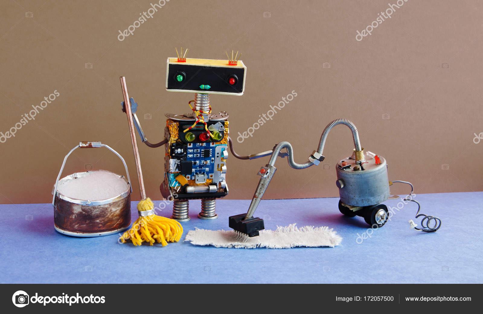 cyborg spielzeug mit staubsauger maschine gelbe mop. Black Bedroom Furniture Sets. Home Design Ideas