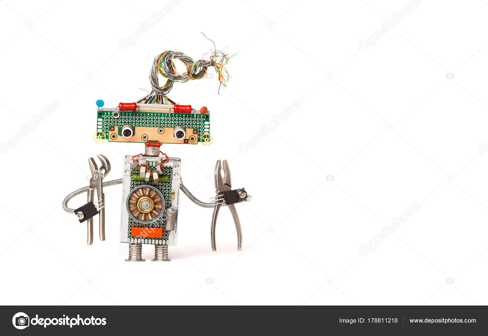 Funny robot electrician with pliers. Creative design robotic toy ...