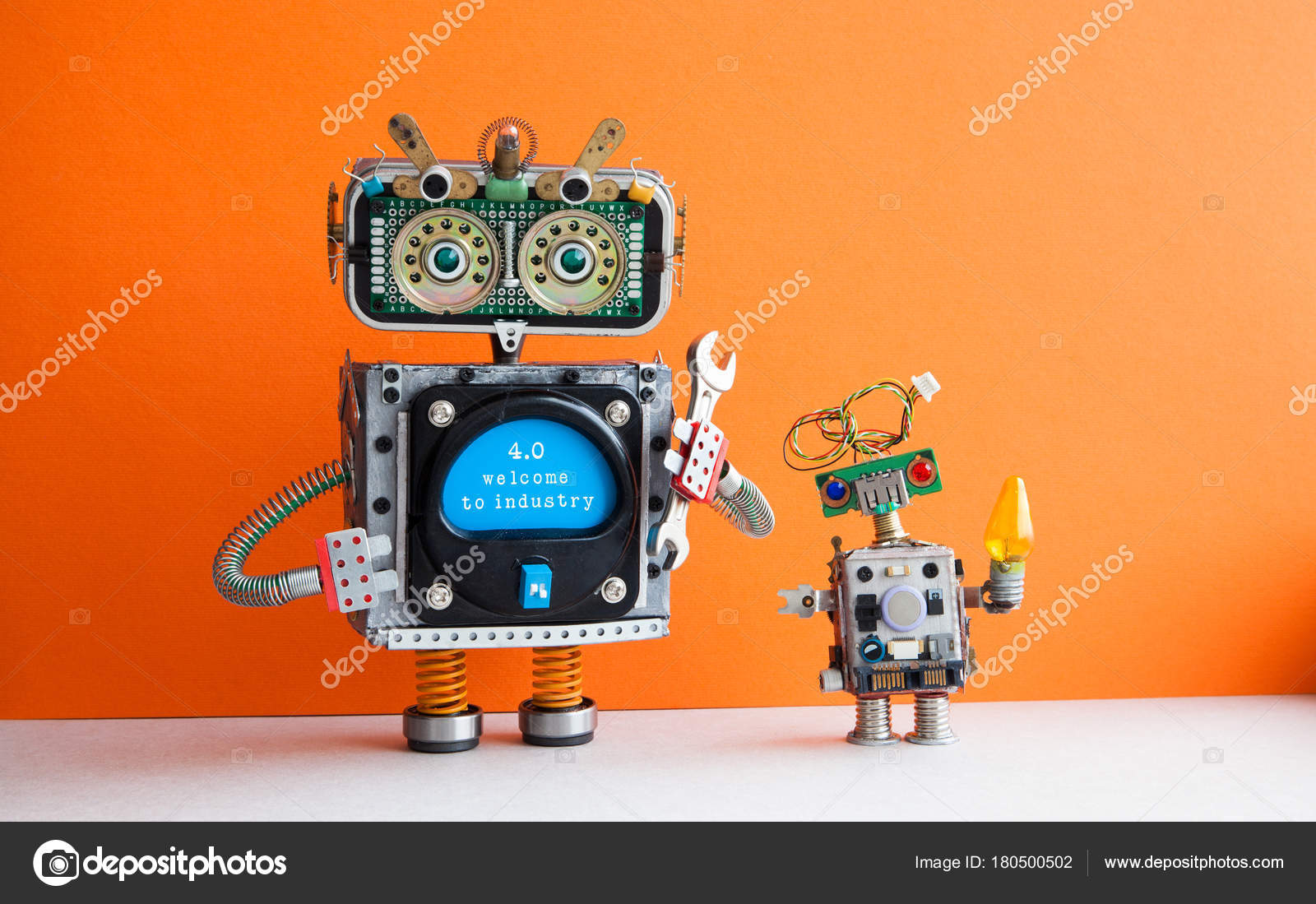 Industry 4 0 concept  Big IT specialist robot with hand