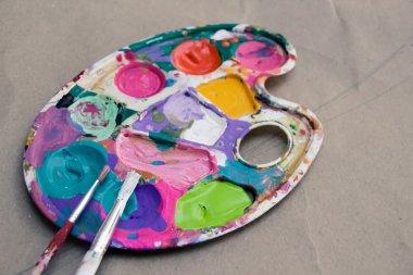 art palette with paints