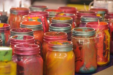 Colorful painted bottles