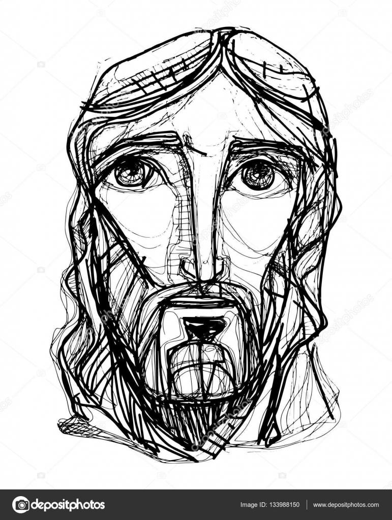 Rostro De Jesus Caricatura Expresionista De Cristo Jesús Cara
