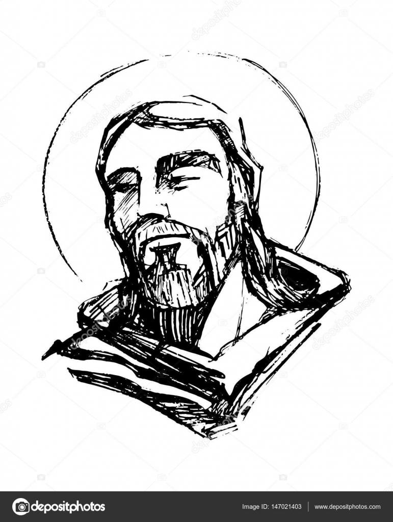 Rostro De Jesus Con Corona De Espinas Para Dibujar Ilustración De