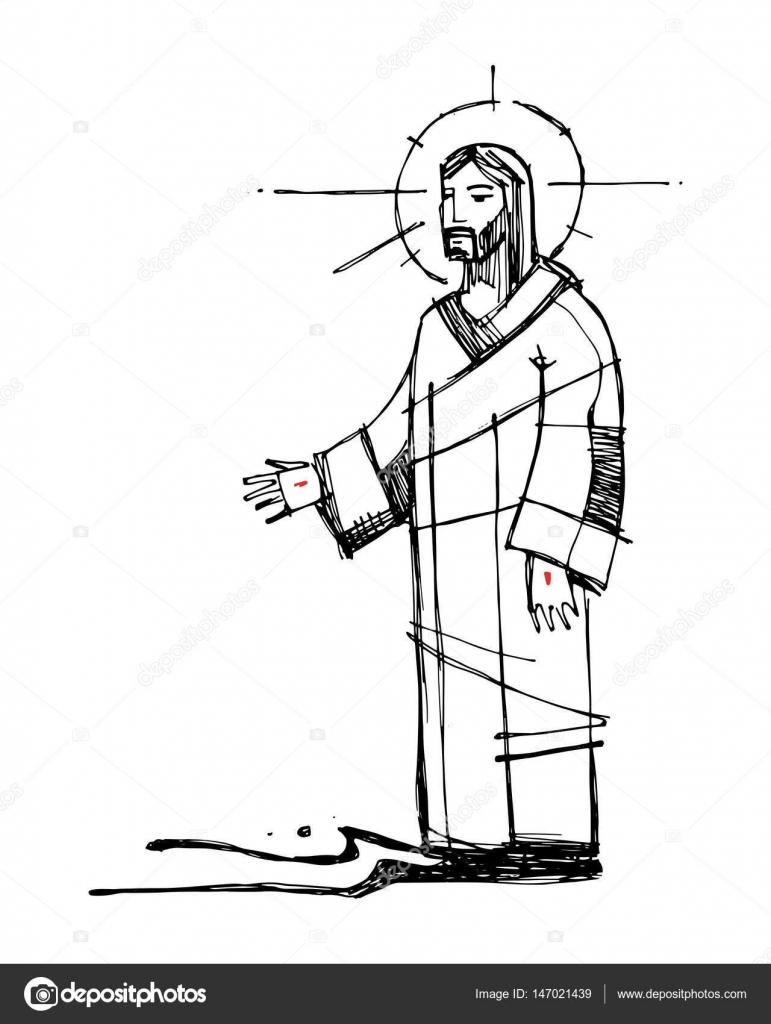 jesus christ walking on the water illustration u2014 stock vector