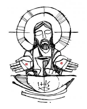 Jesus Christ with wine, bread and open hands illustration