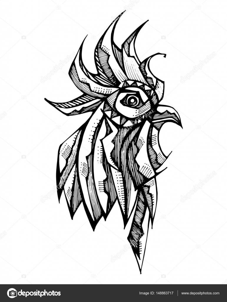 Bekend Haan hoofd inkt tekenen — Stockvector © bernardojbp #148863717 JX58