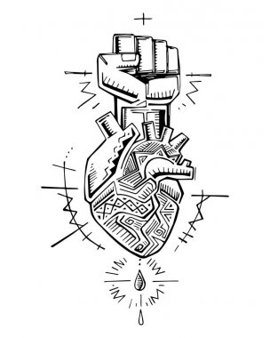 Human heart and fist