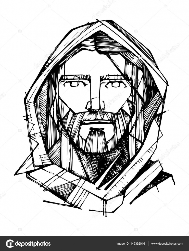 Line Art Jesus : Jesus christ face — stock vector bernardojbp