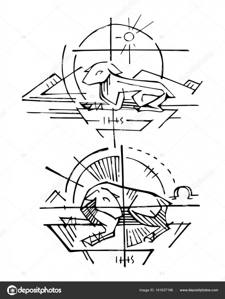 Símbolo religioso del cordero de Dios — Archivo Imágenes Vectoriales ...