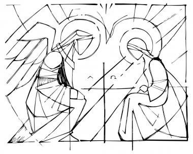 Virgin Mary and Gabriel Archangel