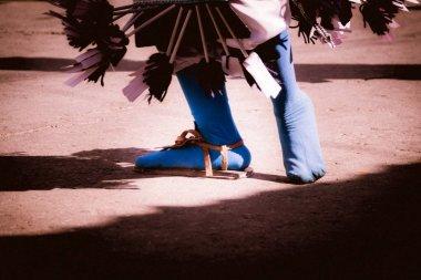 Feet of a traditional matachin mexican dancer