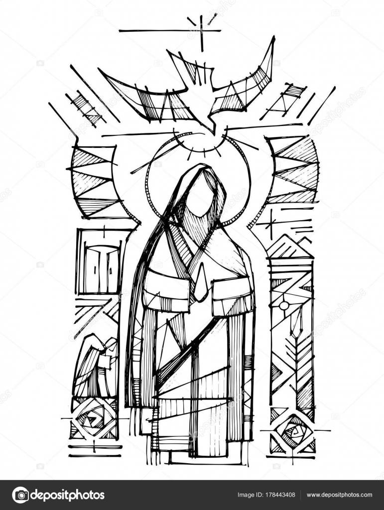 Dibujos Espiritu Santo Para Colorear Virgen María El