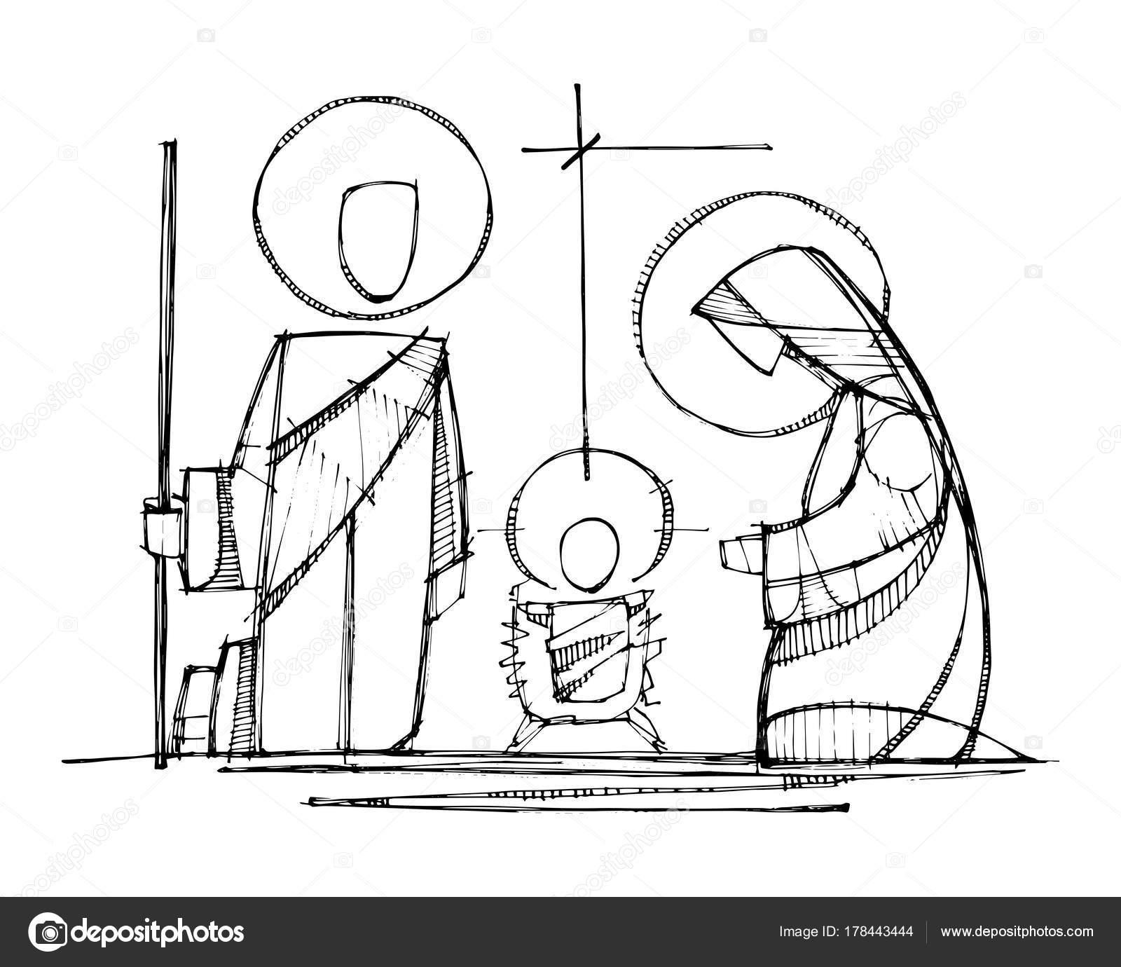 Jesus, Maria und St. Josef an der Krippe — Stockvektor © bernardojbp ...