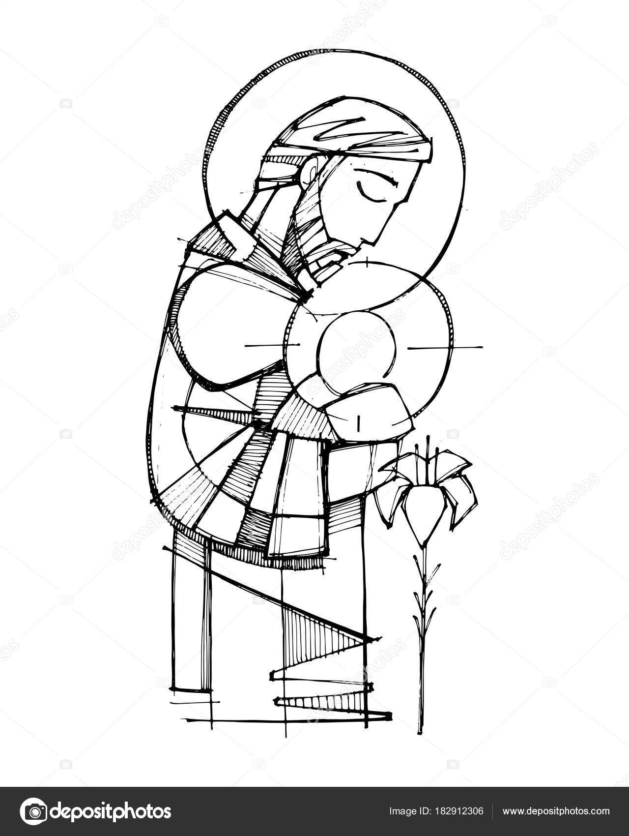 Niño Dios Dibujo A Color San José Y Niño Jesús Vector De