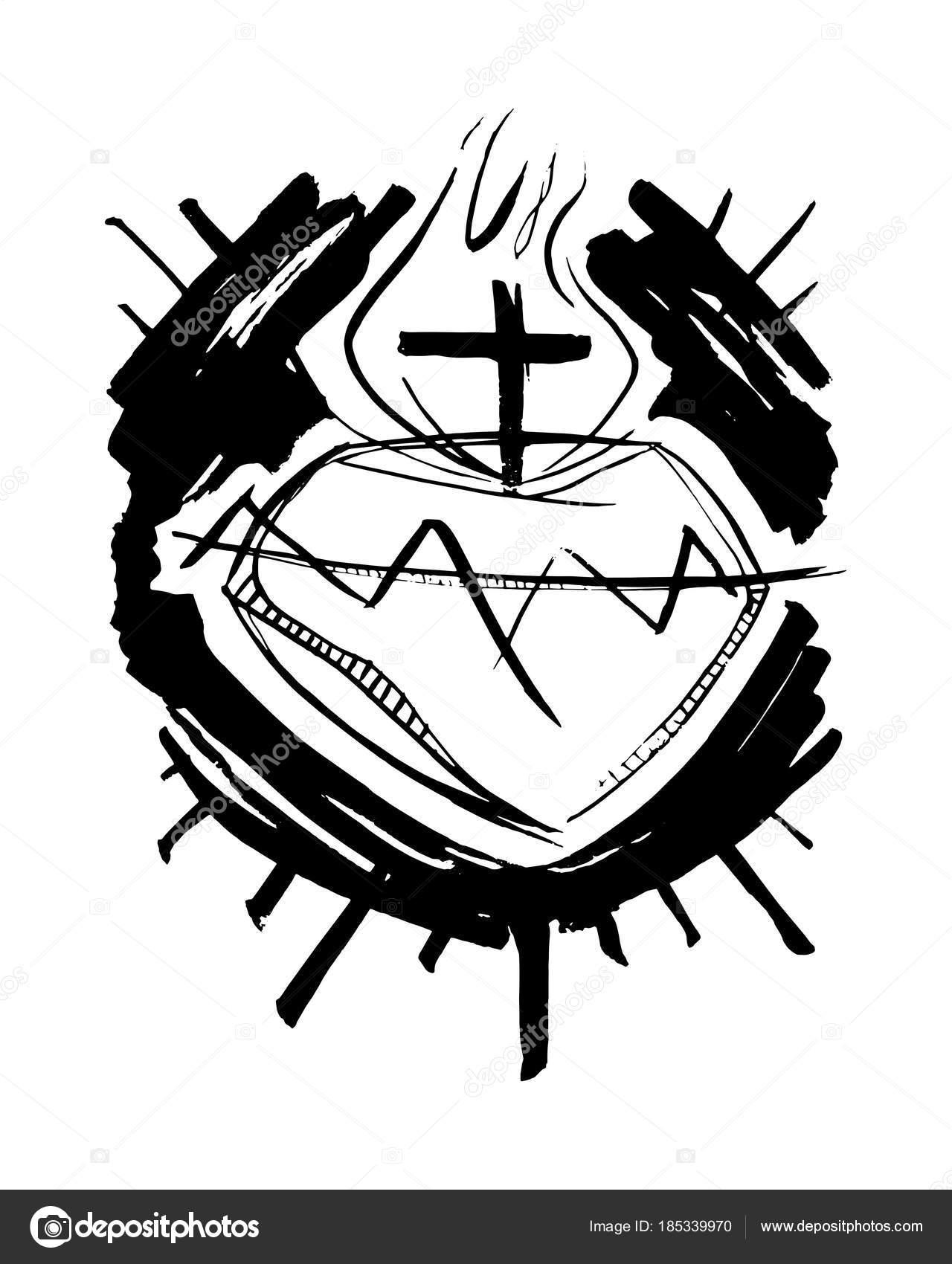 Vector Corazon De Cristo Sagrado Corazón De Jesús Cristo Vector