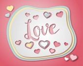 Ruční nakreslený obrázek nebo výkres slovo láska a některé srdce v papíru řezané styl