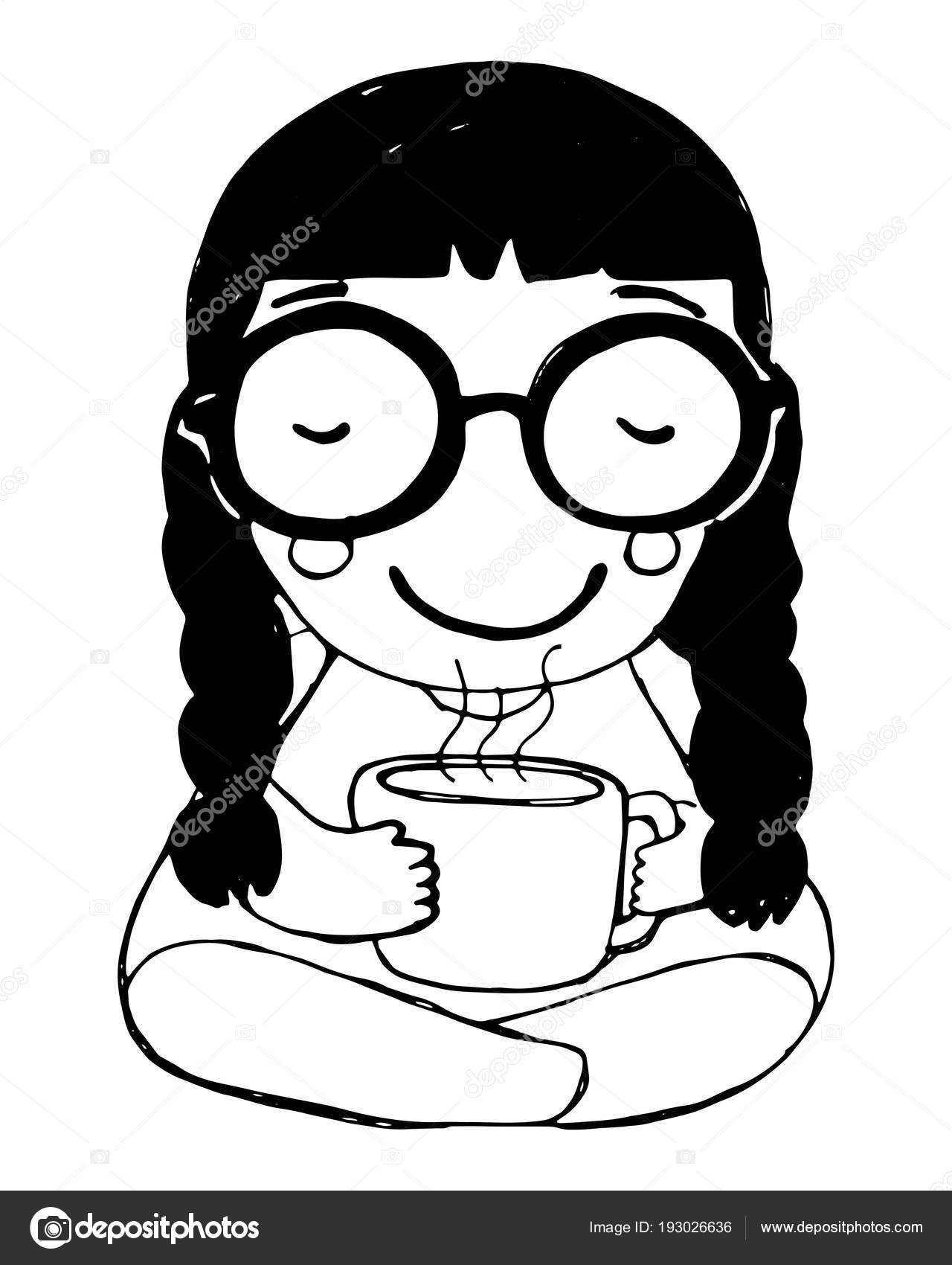 Hand drawn girl glasses coffee isolated white background