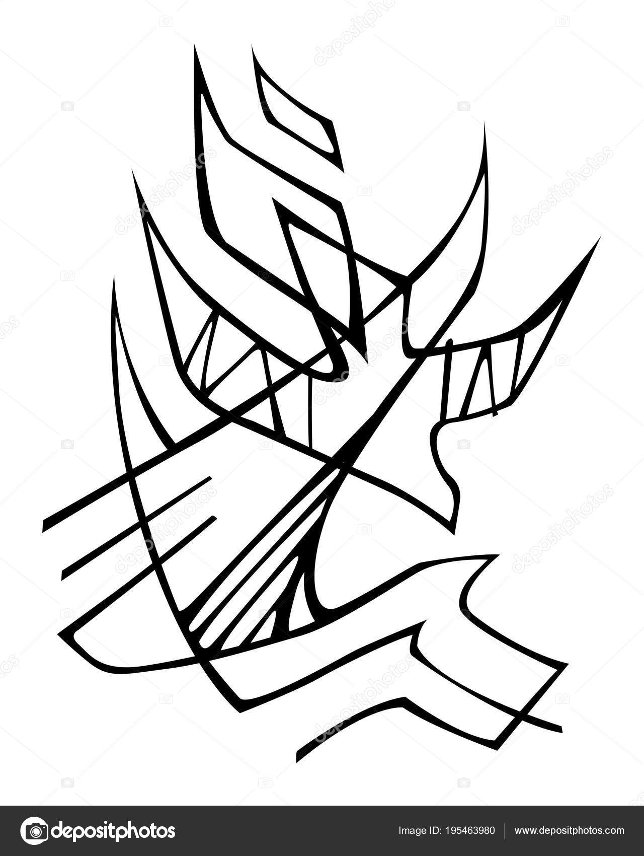 Hand Drawn Vector Illustration Drawing Holy Spirit Religious Symbol