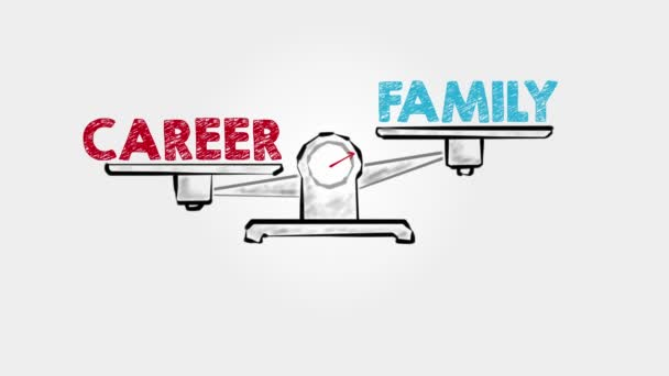 Career Family Balance. Black scale on a gray background